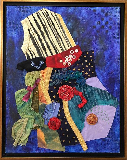 """Midnight Party Dress""  Fiber Art by Sally Dutko"