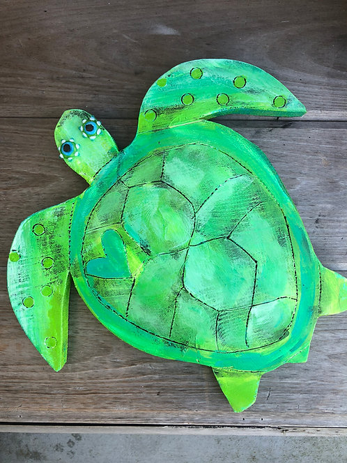 """Mike the Turtle"" acrylic on wood by Kelly Morrison"