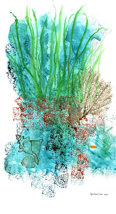 """Flora of the Deep IV"", Original Watercolor by Christine Reichow"