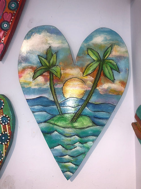 """Sunset Heart"" Original acrylic on wood by Kelly Morrison"