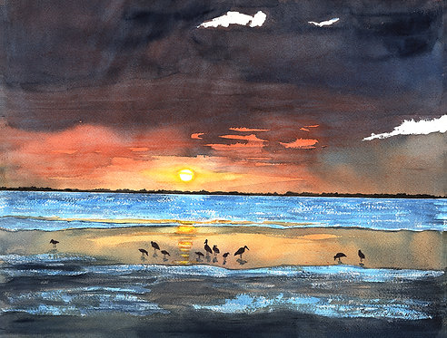 """""""Birds Watching"""", Original Watercolor painting by Christine Reichow"""