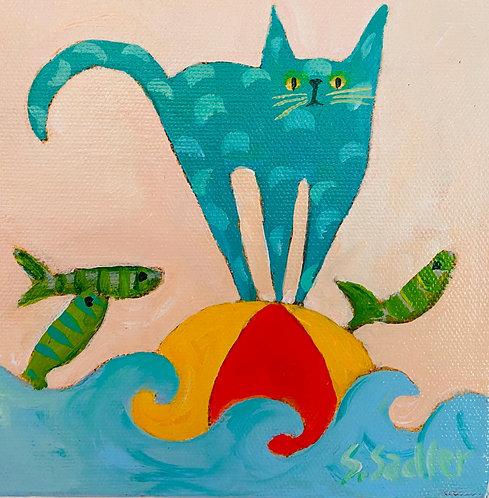 """Balance"". Original 6x6 acrylic on canvas. Artist Susan Sadler. $58"