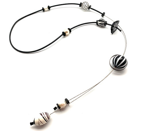 Kathleen Dennison  an assemblage necklace Black and White Bead Collage Necklace
