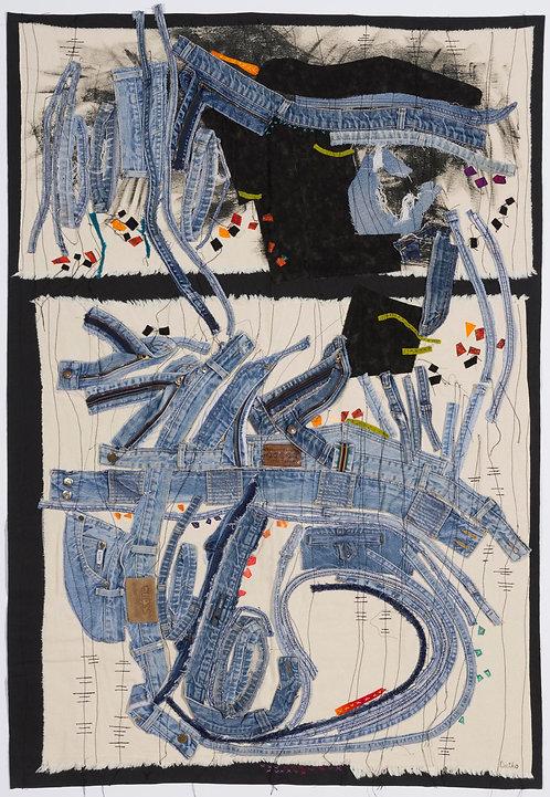 """Blue Collar City""  Fiber Art Cityscape by Sally Dutko"