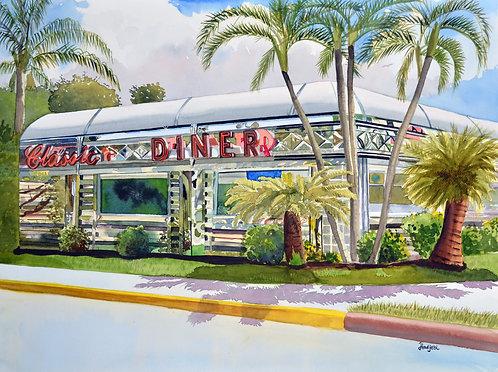 """""""Classic Diner"""" Original watercolor by Artist Shah Hadjebi"""