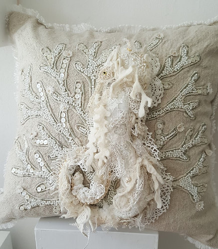 """Mystic Seahorse"" One of a Kind Pillow by Katie Gardenia"