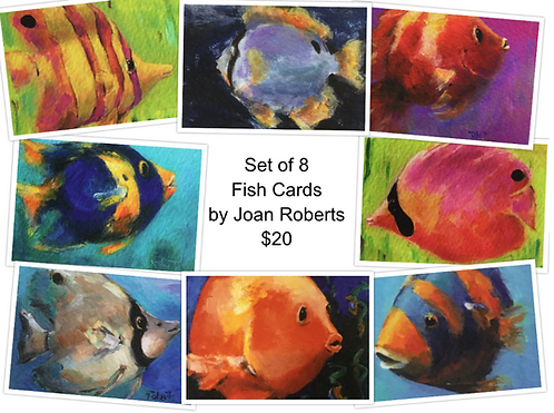 8 Fish Note Cards by Joan Roberts (Set #2)