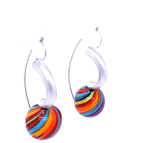 Glass Beads Swing Hoop Earrings by Kathleen Dennison