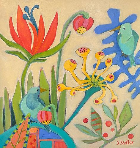 """Garden Flirts"".  Original acrylic artist Susan Sadler.  $475"