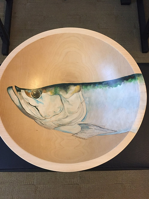 """Tarpon"" original handpainted maple wood bowl by Marianne Ravenna"
