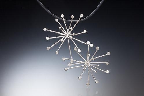 Kathleen Dennison Cascading Stars Necklace sterling silver with rubber neckpiece