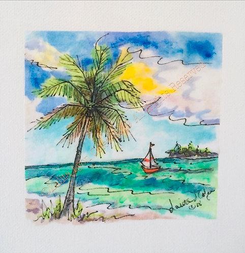 SAILING BY SANIBEL original painting by Lalita Lyon Cofer