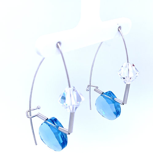 Sterling Earrings with Blue Swarovski Crystals Kathleen Dennison