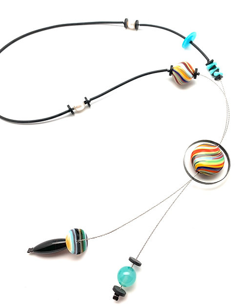Kathleen Dennison Assemblage necklace Colorful Bead Collage Necklace