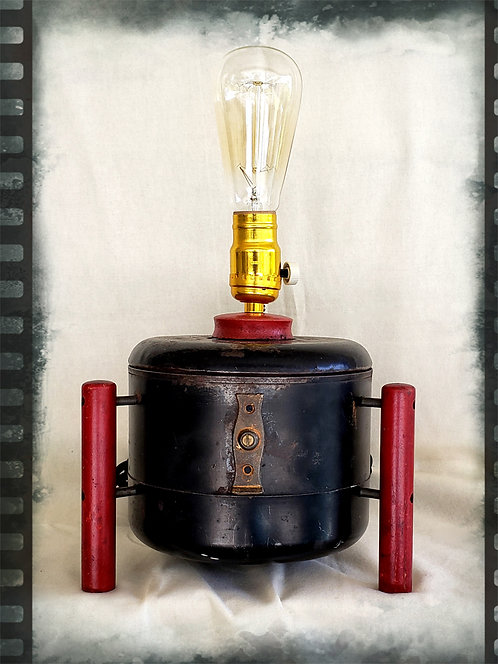 """No Beans Tonight"" A steampunk table lamp by Mike Danley. $180"