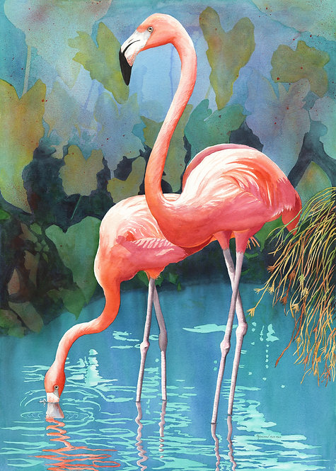 """""""Flamingos in Paradise"""" Limited Edition Giclée Reproduction by Christine Reichow"""