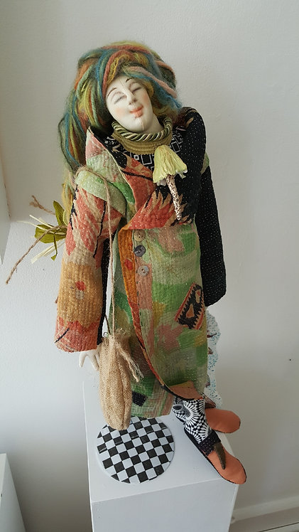 """""""IN THE MOMENT"""" A One of A Kind Fiber Art Doll by Katie Gardenia"""