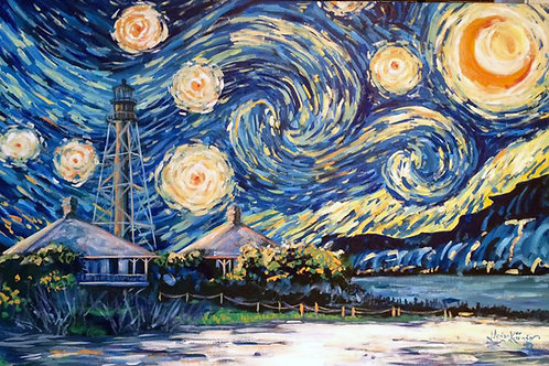 """Starry, Starry, Sanibel Light"" signed giclee on canvas by Megan Kissinger"