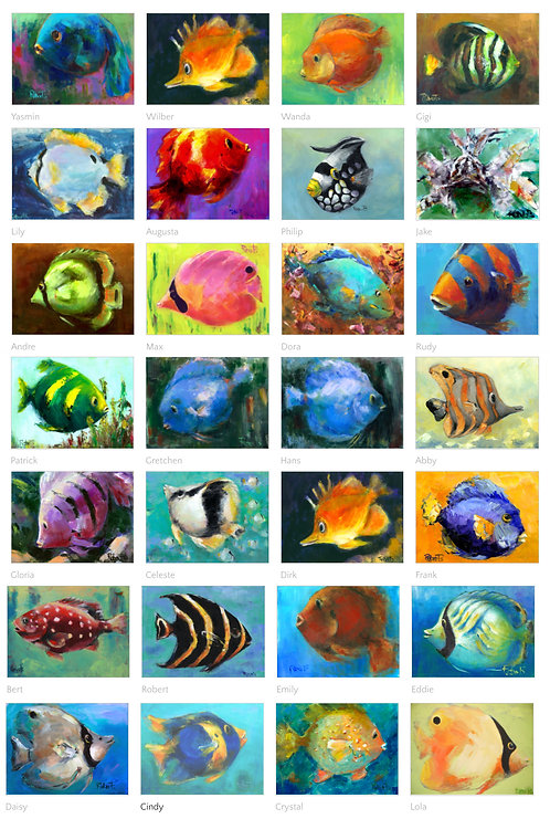Your Choice Any 8 Fish Cards from Original Paintings by Joan Roberts