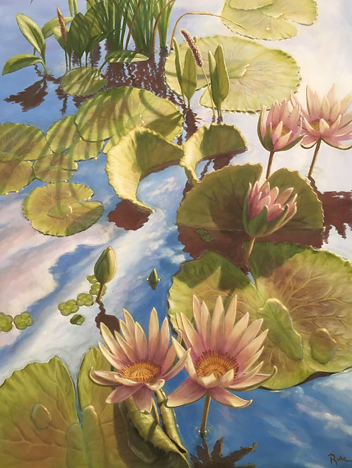 """LILIES IN THE SKY"" Original Painting by Artist David Ruhe"