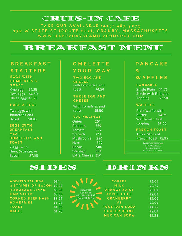 Cruis-in Cafe breakfast menu
