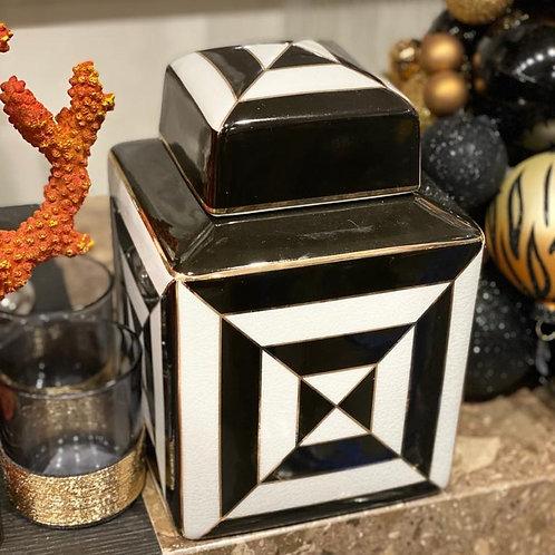 Jar square gold/black