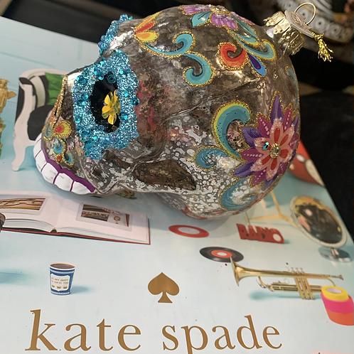 Sugar skull glas zilver