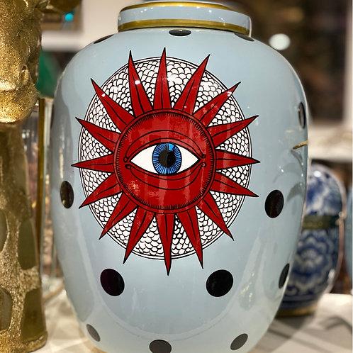 Jar blue dots eye big