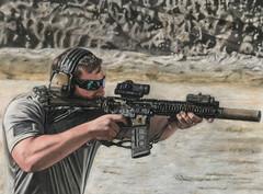 Military Sniper Pastel Portrait