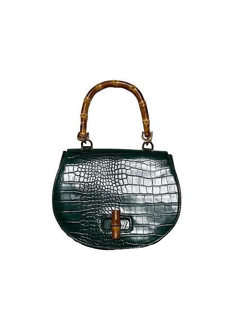 F21 green faux croc bamboo purse