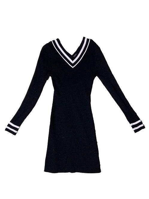 Pink Rose black off-shoulder rib knit sweater dress