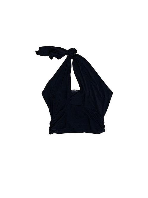 Fashionnova black low cut halter top