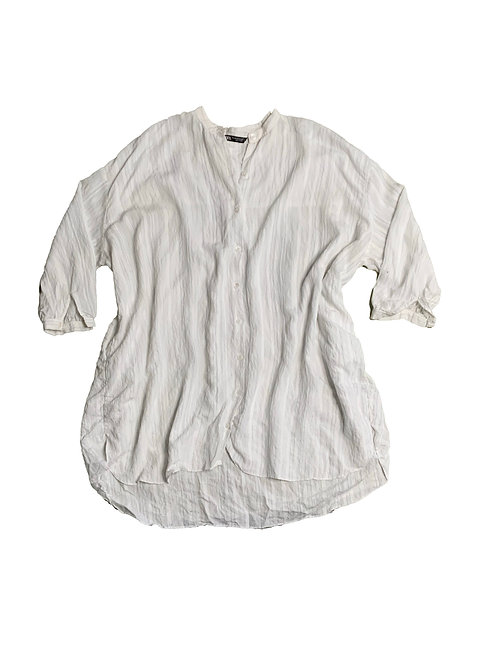 Zara white striped button-down long sleeve