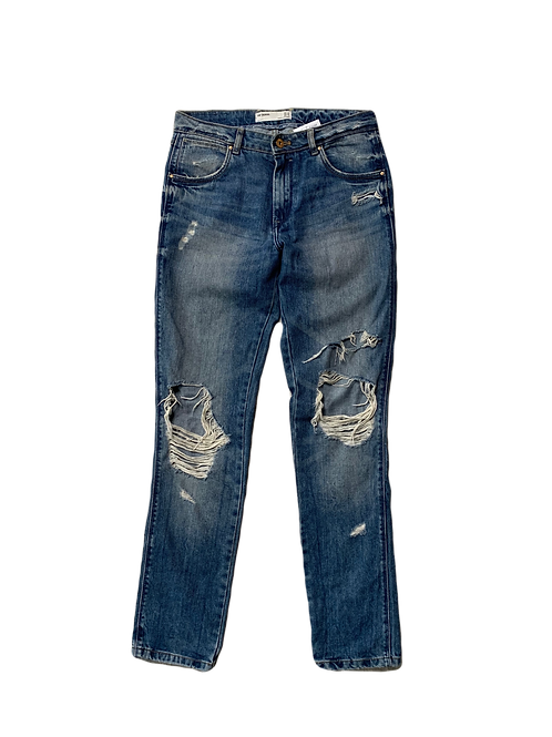 Distressed mid rise denim