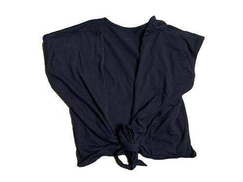 Wilfred black short sleeve wrap top