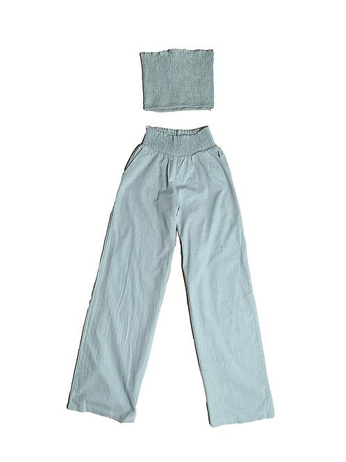 Fashion Nova light green wide leg pant crop top set
