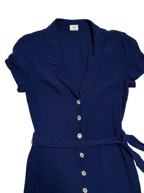 Babaton navy button tie dress