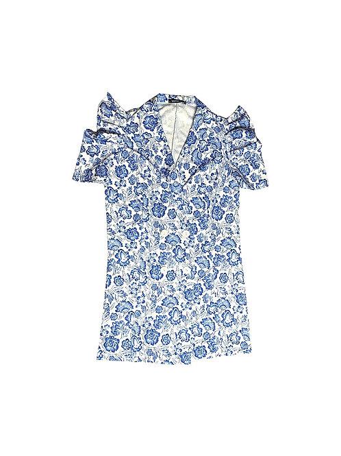 Blue floral blazer dress