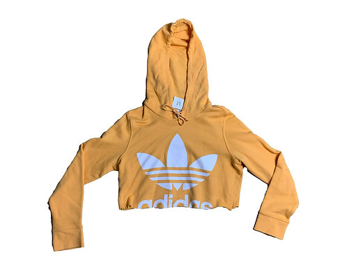 Adidas yellow cropped hoodie
