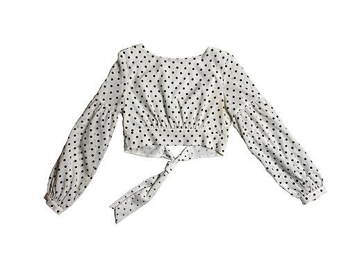 Super down black polka dot blouse