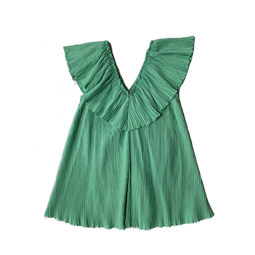Zara green ruffled v neck mini dress