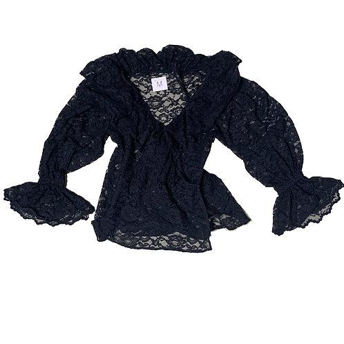 Black lace peasant longsleeve top