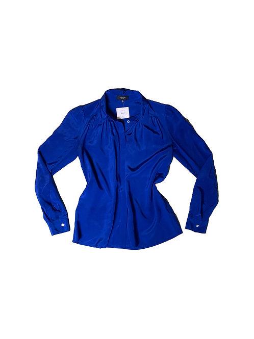 Babaton blue silk button down blouse