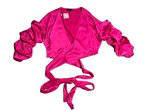Miss Lola magenta satin tie blouse