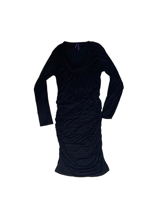 Séraphine black ruched long sleeve dress