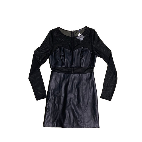 Guess black mesh and faux leather dress