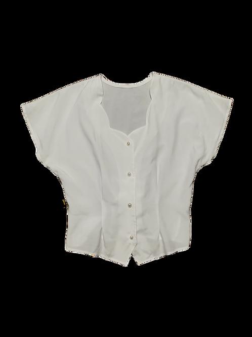 Vintage white pearl button blouse