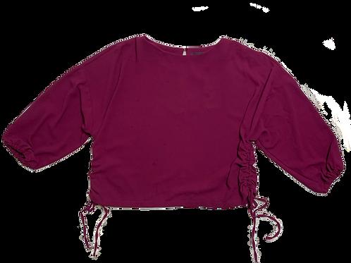 Zara raspberry red side drawstring top