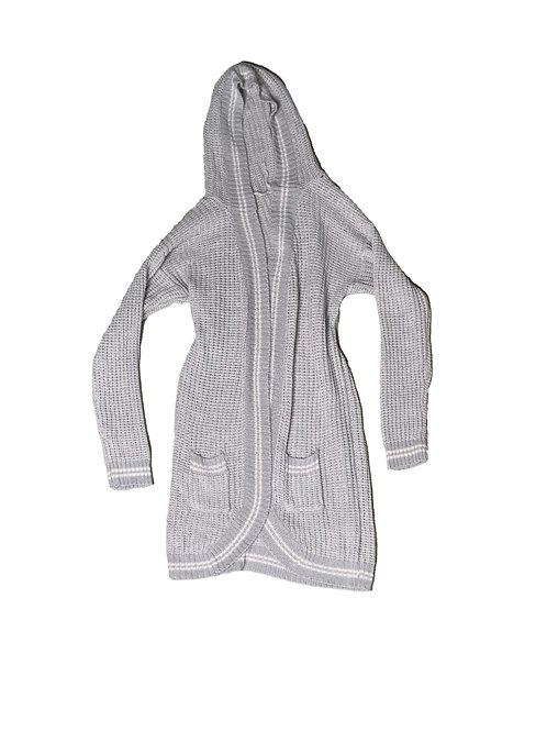 Grey waffle-knit cardigan