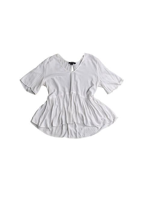 Hers & Mine white peplum blouse